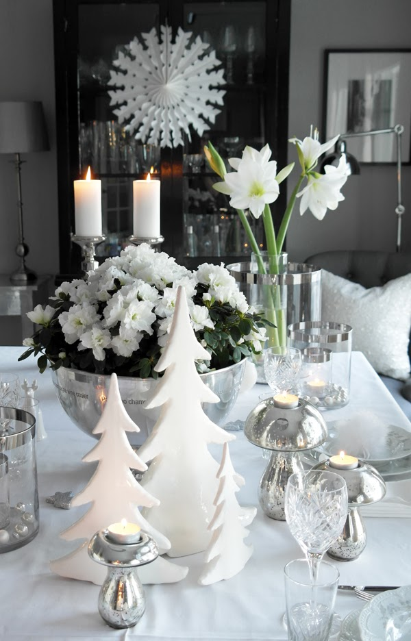 Vinterhvitt julebord anette willemine - Idee decoration table noel ...