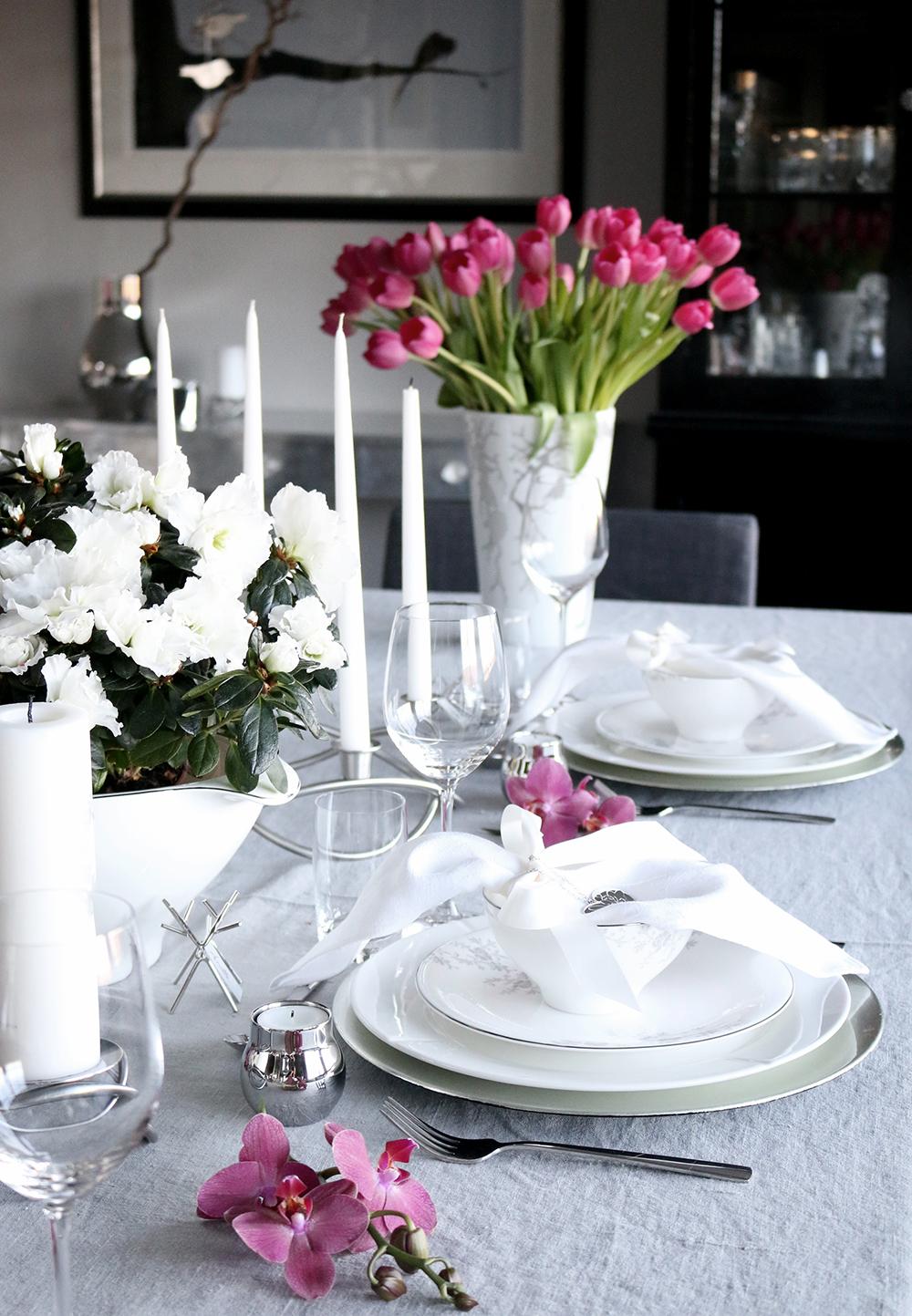 Tilbords Table setting Advent grey hvite purple 26