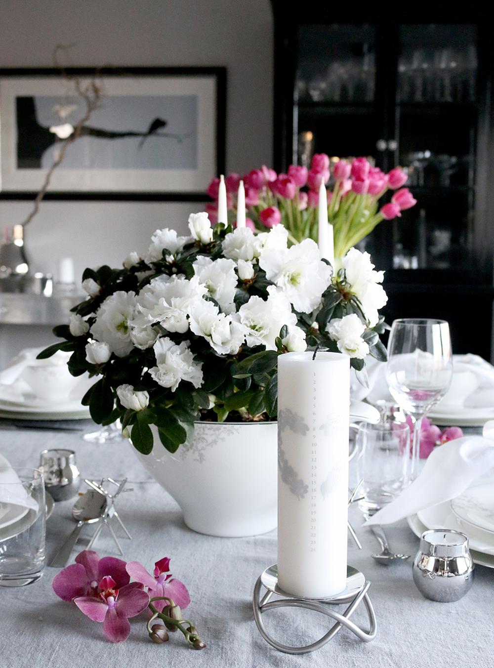 Tilbords Table setting Advent grey hvite purple 27
